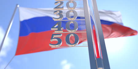 Minus 40 degrees centigrade on a thermometer measuring near flag of Russia. Very cold weather forecast related 3D rendering 스톡 콘텐츠