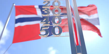 Minus 40 degrees centigrade on a thermometer measuring near flag of Norway. Very cold weather forecast related 3D rendering 스톡 콘텐츠
