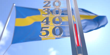 Minus 40 degrees centigrade on a thermometer measuring near flag of Sweden. Very cold weather forecast related 3D rendering