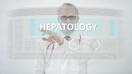 HEPATOLOGY tab and a doctor in front of a modern medical display