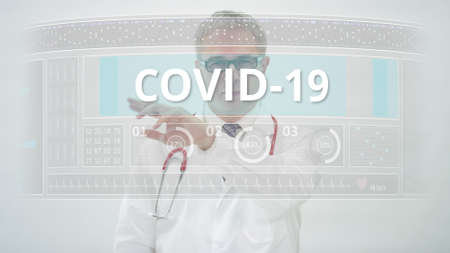 COVID 19 tab and a doctor in front of a modern medical display