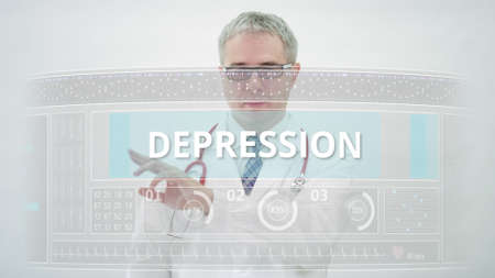 Doctor scrolls to DEPRESSION tab on a modern touchscreen display