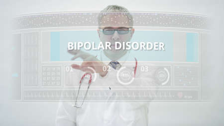 BIPOLAR DISORDER tab and a doctor at futuristic computer