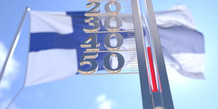 Minus 40 degrees centigrade on a thermometer measuring near flag of Finland. Very cold weather forecast related 3D rendering