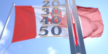 Minus 40 degrees centigrade on a thermometer measuring near flag of Canada. Very cold weather forecast related 3D rendering