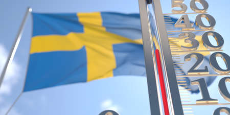 Thermometer shows high air temperature against blurred flag of Sweden. Hot weather forecast related 3D rendering