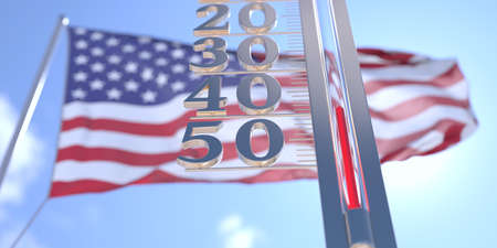 Minus 40 degrees centigrade on a thermometer measuring near flag of the USA. Very cold weather forecast related 3D rendering