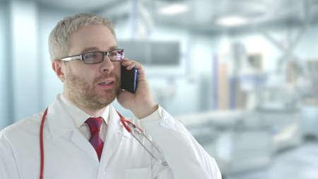 Doctor talks on his cell phone 免版税图像