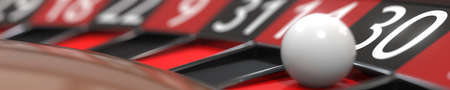 30 thirty black on casino roulette wheel, close-up. 3D rendering