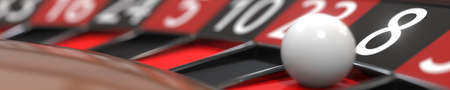 8 eight black on casino roulette wheel, close-up. 3D rendering