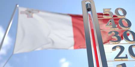 Thermometer shows high air temperature against blurred flag of Malta. Hot weather forecast related 3D rendering