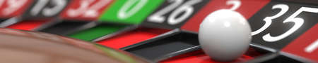 35 thirty-five black on casino roulette wheel, close-up. 3D rendering