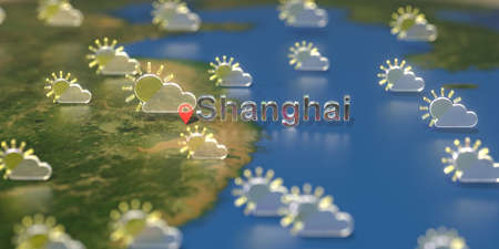 Partly cloudy weather icons near Shanghai city on the map, weather forecast related 3D rendering
