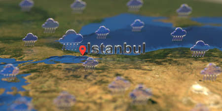Istanbul city and rainy weather icon on the map, weather forecast related 3D rendering