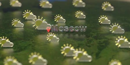 Partly cloudy weather icons near Moscow city on the map, weather forecast related 3D rendering