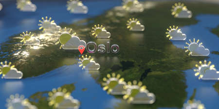 Oslo city and partly cloudy weather icon on the map, weather forecast related 3D rendering 스톡 콘텐츠