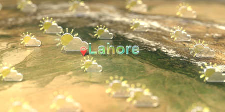 Partly cloudy weather icons near Lahore city on the map, weather forecast related 3D rendering