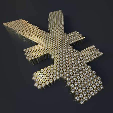 Yen symbol made with batteries, wide shot. Modern technologies conceptual 3d rendering