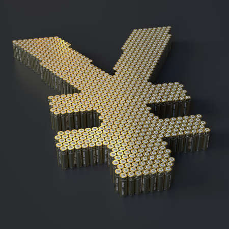 Yen sign made with many batteries. Modern technologies related 3d rendering