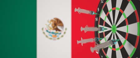 Syringes with a vaccine hit target near the Mexican flag. Successful medical research and vaccination in Mexico. Conceptual 3D rendering