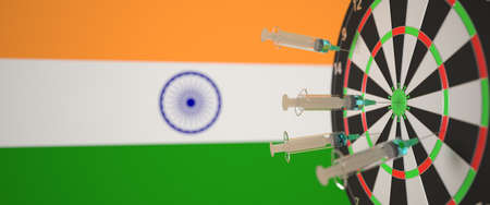Vaccine syringes with text and flag of India as a background. Indian medical research and vaccination, 3D rendering