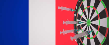 Vaccine syringes with text and flag of France as a background. French medical research and vaccination, 3D rendering