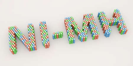 NI-MH text made with many batteries. Electrical technologies related 3d rendering