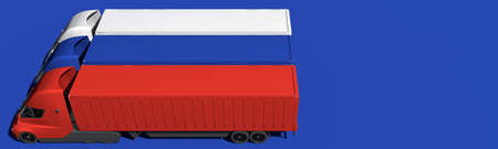 Electric trailer trucks form flag of Russia on blue background. 3d rendering 版權商用圖片