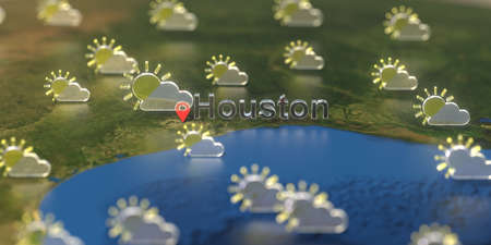 Partly cloudy weather icons near Houston city on the map, weather forecast related 3D rendering 스톡 콘텐츠