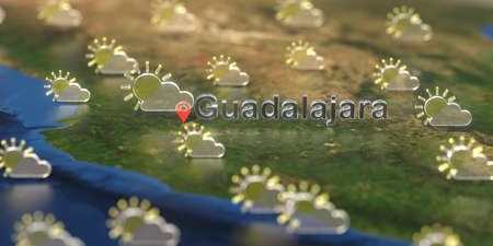 Partly cloudy weather icons near Guadalajara city on the map, weather forecast related 3D rendering