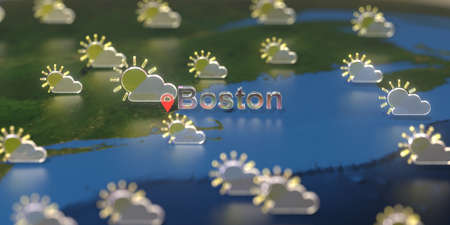 Boston city and partly cloudy weather icon on the map, weather forecast related 3D rendering