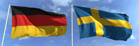 Flying flags of Germany and Sweden on high flagpoles. 3d rendering