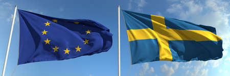 Flying flags of the European Union and Sweden on sky background, 3d rendering