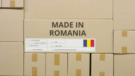 Box with printed MADE IN ROMANIA text and flag sticker in a warehouse