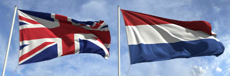 National flags of Great Britain and Netherlands, 3d rendering