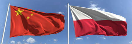Flags of China and Poland on flagpoles. 3d rendering