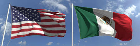 Flying flags of the USA and Mexico on high flagpoles. 3d rendering Foto de archivo