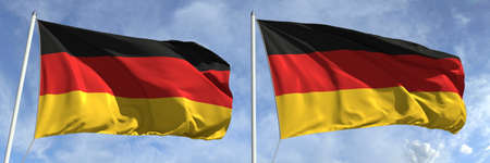 Flying flags of Germany on sky background, 3d rendering