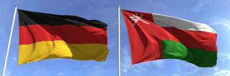 Flags of Germany and Oman on flagpoles. 3d rendering Zdjęcie Seryjne