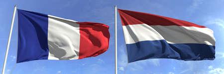 Waving flags of France and Netherlands on flagpoles, 3d rendering Zdjęcie Seryjne
