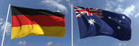 Flying flags of Germany and Australia on sky background, 3d rendering