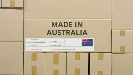 Carton with printed MADE IN AUSTRALIA text and flag. Warehouse logistics concept