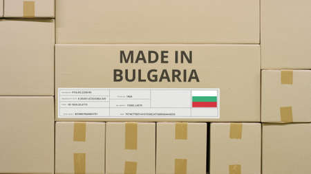 Box with printed MADE IN BULGARIA text and flag sticker in a warehouse