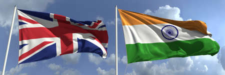 Flags of Great Britain and India on flagpoles. 3d rendering