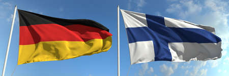Flying flags of Germany and Finland on sky background, 3d rendering