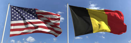 Waving flags of the USA and Belgium on flagpoles, 3d rendering