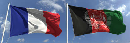 Flying flags of France and Afghanistan on high flagpoles. 3d rendering