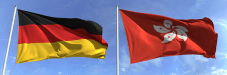 Waving flags of Germany and Hong Kong on flagpoles, 3d rendering