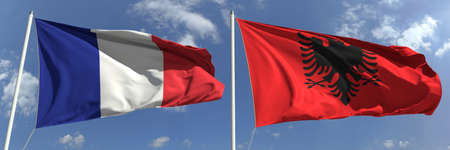 National flags of France and Albania, 3d rendering