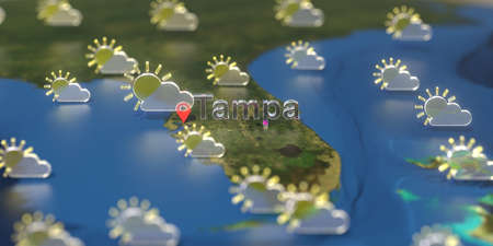 Tampa city and partly cloudy weather icon on the map, weather forecast related 3D rendering